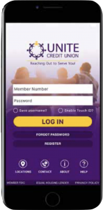 Image of UNITE's mobile banking app